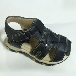 Black Outdoor Flat Beach Sandal with PU Upper and TPR Outsole