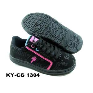 Newest Children′s Sport Casual Skateboarding Shoes with PU Upper and Rb Sole