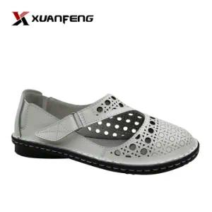 Wholesale Fashion Summer Leather Leisure Footwear White Lady Shoe