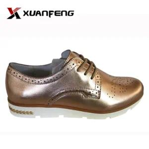 Bling Bling Ladies′ Genuine Leather Casual Shoes with PU Sole