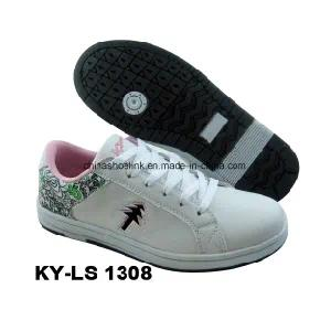 China Lady Casual Skateboard Shoes PU Leather Rb Sole